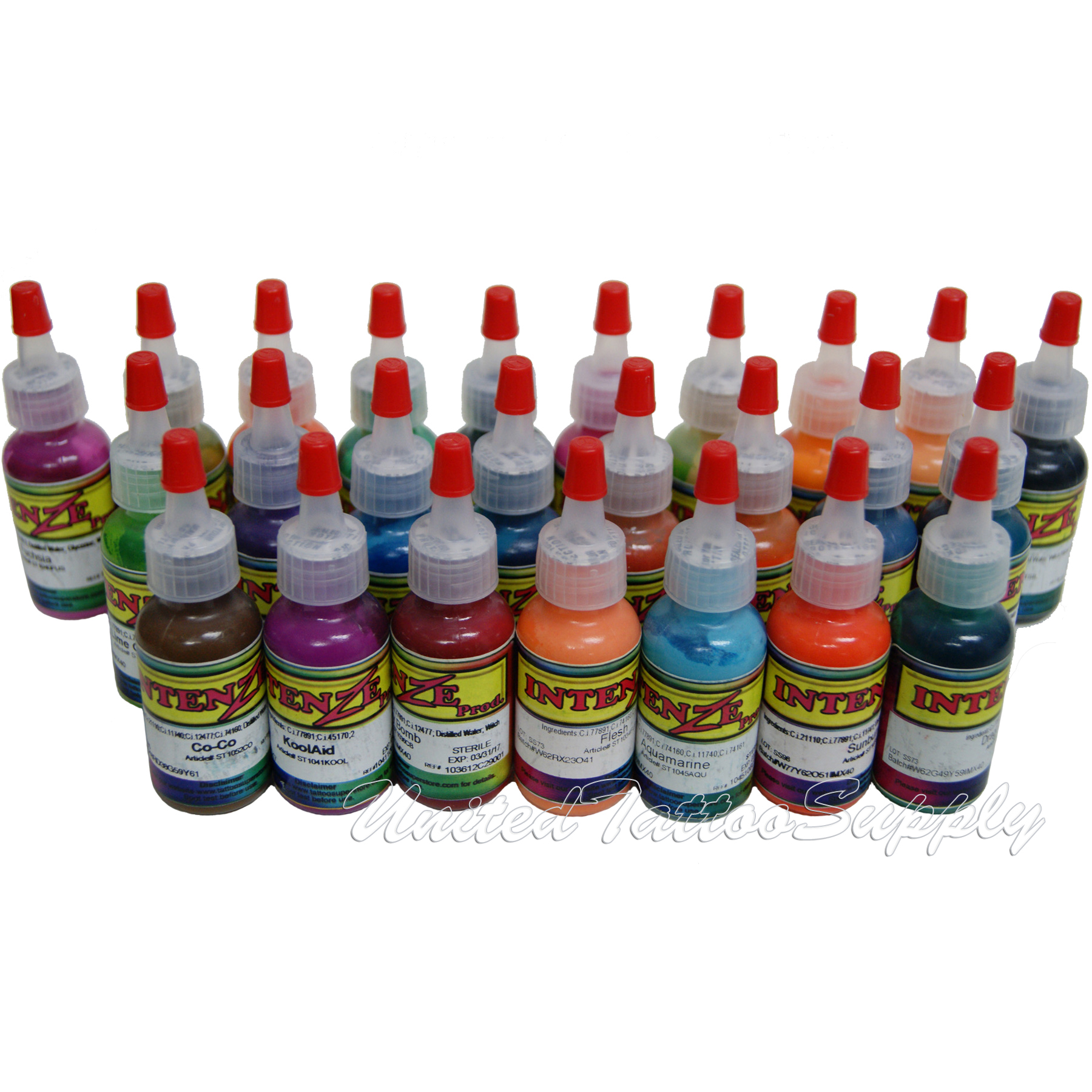 25 Color Intenze Tattoo Ink Set 1/2oz