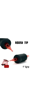 "Tuff Tube® V2 Code Red- 1"" Inch Sterile Black Disposable Tattoo Grips with Hard Silicon Grip and Clear Tip - 18 Round 20 Pack"