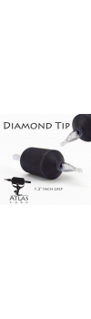 "Atlas Tube™- 1.2"" Inch Black Sterile Disposable Tattoo Grips with Clear Tip - 14 Diamond 15 Pack"