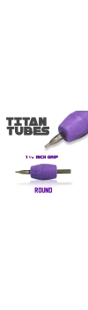 "Titan™ Tube - 1.25"" Inch Purple Sterile Disposable Tattoo Grips with Clear Tip - 11 Round 10 Pack"