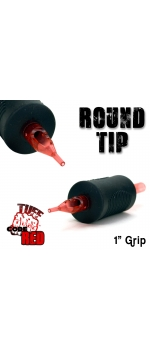 "Tuff Tube® V2 Code Red- 1"" Inch Sterile Black Disposable Tattoo Grips with Hard Silicon Grip and Clear Tip - 14 Round 20 Pack"