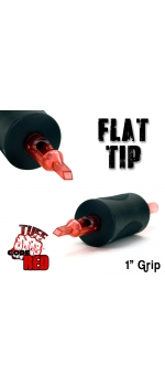 """Tuff Tube® V2 Code Red- 1"""" Inch Sterile Black Disposable Tattoo Grips with Hard Silicon Grip and Clear Tip - 15 Flat 20 Pack"""