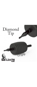 "Goliath Tube™- 1.5"" Inch Super Size Black Sterile Disposable Tattoo Grips - 11 Diamond 10 Pack"