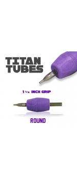"Titan™ Tube - 1.25"" Inch Purple Sterile Disposable Tattoo Grips with Clear Tip - 9 Round 10 Pack"