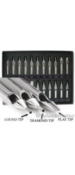 22 Pc. Box SET of Stainless Steel Tattoo Grip Tips