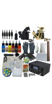 2 Machine Apprentice Tattoo Kit with Digital Power Supply & 6 Radiant 0.5oz Inks