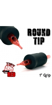 """Tuff Tube® V2 Code Red- 1"""" Inch Sterile Black Disposable Tattoo Grips with Hard Silicon Grip and Clear Tip - 7 Round 20 Pack"""