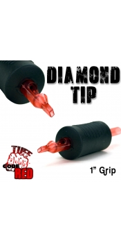"""Tuff Tube® V2 Code Red- 1"""" Inch Sterile Black Disposable Tattoo Grips with Hard Silicon Grip and Clear Tip - 11 Diamond 20 Pack"""
