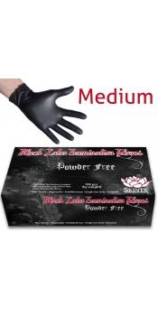 Black Latex Powder Free Examination Gloves - Medium