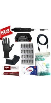 Rotary Machine Apprentice Tattoo Kit with Dual Digital Power Supply & 10 Radiant 1/2oz Inks