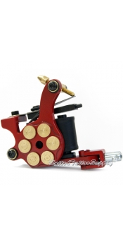 E-class Professional Red Bullet Revolver Tattoo Machine w/10 Wrap Coil