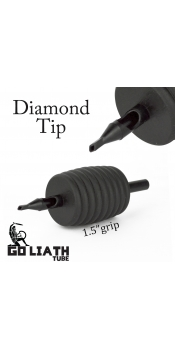 "Goliath Tube™- 1.5"" Inch Super Size Black Sterile Disposable Tattoo Grips - 14 Diamond 10 Pack"