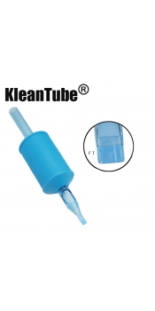 KleanTube® - Premium Tattoo Disposable Grips with Clear Tips - 15 Flat