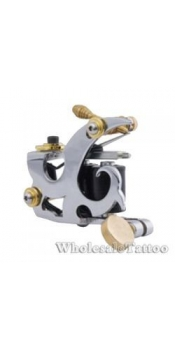E-CLASS Silver Steel Professional Tattoo Machine TM-E038 /w 10 coils