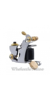 E-CLASS Silver Steel Professional Tattoo Machine TM-E039 /w 10 coils