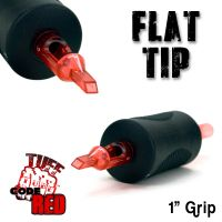 """Tuff Tube® V2 Code Red- 1"""" Inch Sterile Black Disposable Tattoo Grips with Hard Silicon Grip and Clear Tip - 7 Flat 20 Pack"""