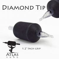 "Atlas Tube™- 1.2"" Inch Black Sterile Disposable Tattoo Grips with Clear Tip - 7 Diamond 15 Pack"