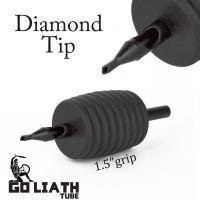 "Goliath Tube™- 1.5"" Inch Super Size Black Sterile Disposable Tattoo Grips - 3 Diamond 10 Pack"
