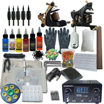 2 Machine Apprentice Tattoo Kit with Digital Power Supply & 6 Radiant 0.5oz Inks