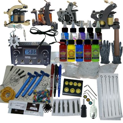 4 Machine Apprentice Tattoo Kit with Dual Digital Power Supply & 10 Radiant 1/2oz Inks