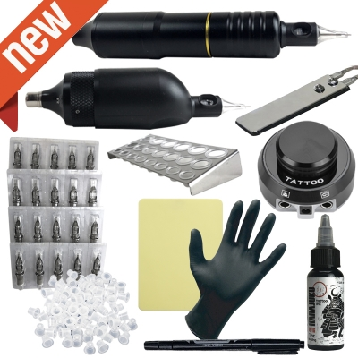 2 Rotary Machine Apprentice Tattoo Kit with Dual Digital Power Supply & 10 Radiant 1/2oz Inks