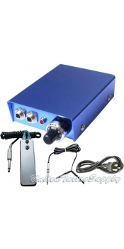 Blue 10 Turn Tattoo Power Supply w/ Clip Cord, Power Plug & Foot Pedal