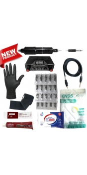 Rotary Machine Apprentice Tattoo Kit with Dual Digital Power Supply & 10 Radiant 1/2oz Inks
