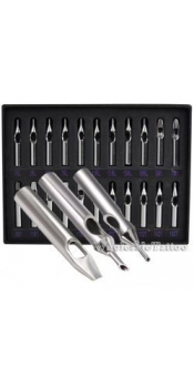 22 pc. Box Set Of Double wash holes Stainless Steel Tattoo Grip Tips