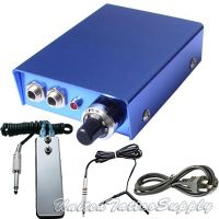 Blue 10 Turn Tattoo Power Supply w/ Clip Cord, Power Plug & Foot Pedal
